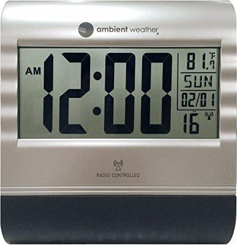 Wall Clock Digital Temperature Atomic Desk Wall Mount Large LCD RC-9362