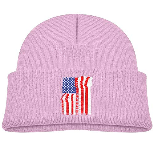 Knit Hats Winter Beanies Caps Baby Fleece Bass Guitar Flag Girls'