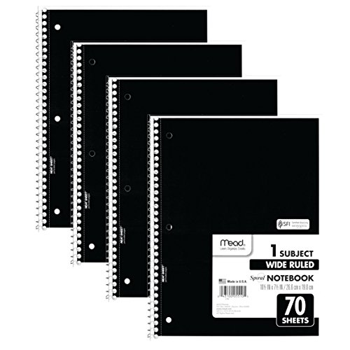 "Mead Spiral Notebooks, 1 Subject, Wide Ruled Paper, 70 Sheets, 10-1/2"" x 7-1/2"", Black, 4 Pack (38401)"