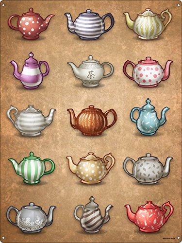 Grindstore Tea Time Teapots Brown Tin Sign 30.5x40.7cm