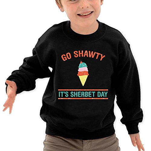 Puppylol Go Shawty, It's Sherbert Day Kids Classic Crew-Neck Pullover Hoodie Black 4 Toddler