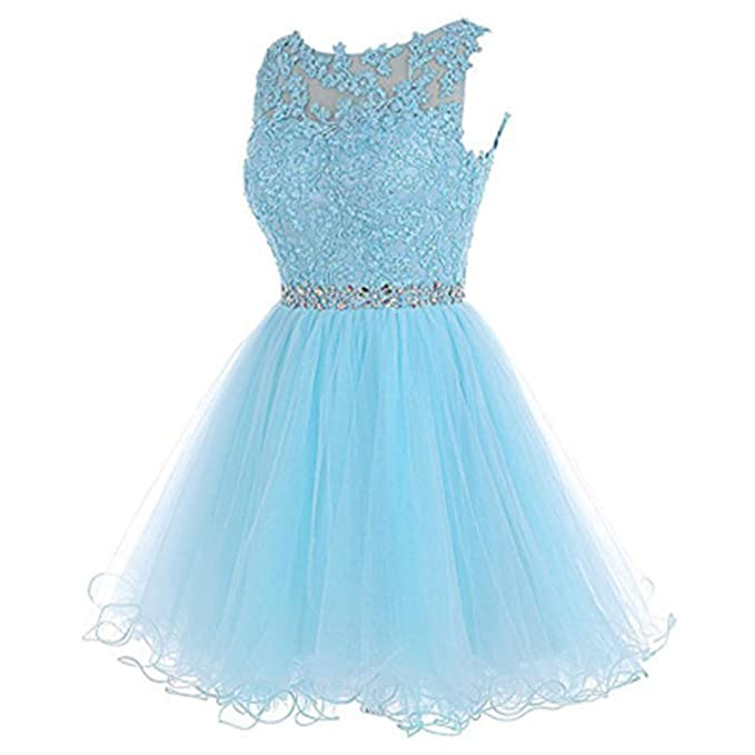 DressMall A Line Short Dress For Juniors Lace Party Dress Children Sash  Backless