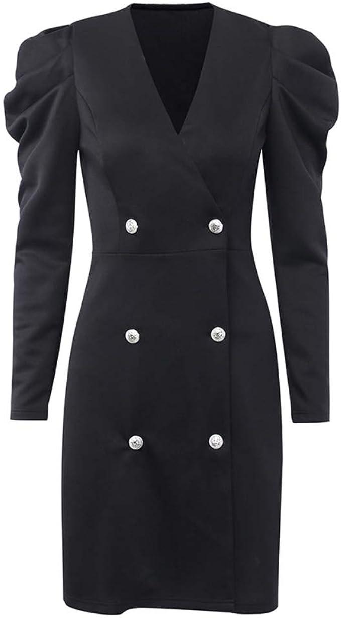 HTMP-HS Damen Anzug Kleid V-Ausschnitt einfarbig Knopf Zweireiher