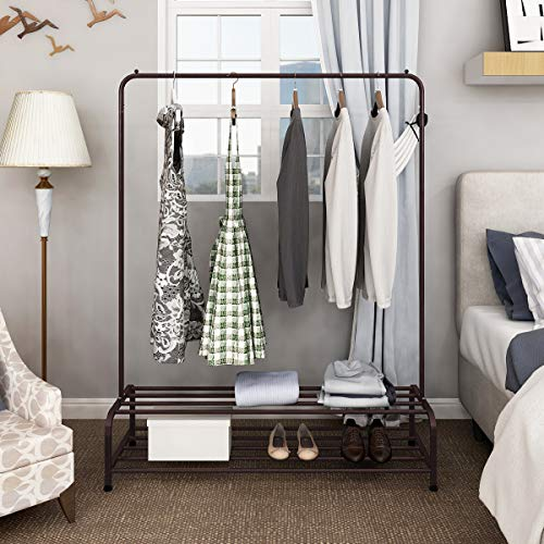 Clothes Rack Metal Garment Racks Heavy Duty Indoor Bedroom Cool Clothing Hanger with Top Rod and Lower Storage Shelf with 2-Tier Shelves 47