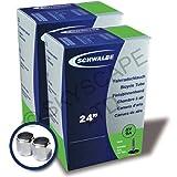 "2 x Schwalbe Inner Tubes - 24"" x 3/4"", 1"", 1 1/8"" (600 x 25A/28A) - Auto/Schrader Valve [No. AV9A] + FREE Upgraded Skyscape Metal Valve Caps (Worth $4.99)"