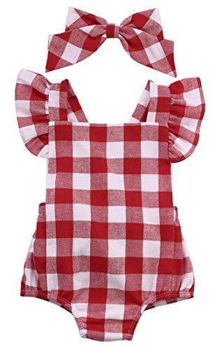 Newborn Toddler Baby Girl Bodysuit Cotton Plaids Bebes Romper Outfit with Bowknot (70cm/ 3-6 Months) (Cotton Plaid Suit)