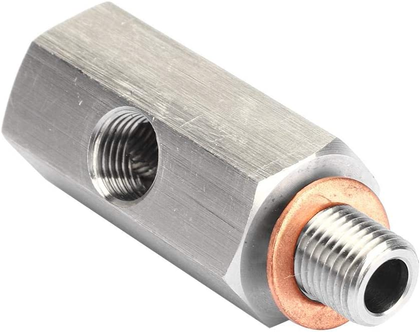 KIMISS 1//8in Edelstahl NPT /Öldrucksensor T-St/ück auf M10 10x1.0 Stecker Adapter Turbo Supply Feed Line Gauge Silber