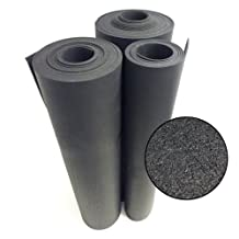 "Rubber-Cal ""Recycled Rubber Flooring"" - 3/8"" x 4ft x 2ft rolls - Black Rubber Floor Mat"
