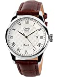 CIVO Men's Luxury Brown Leather Band Date Calendar Wrist Watch Casual Business Waterproof Dress Watch
