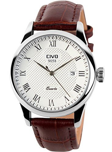 CIVO Men's Luxury Date Calendar Wrist Watches Men Casual Business Dress Waterproof Watch Simple Design Fashion Classic Analogue Quartz Watches for Men (Brown & White)