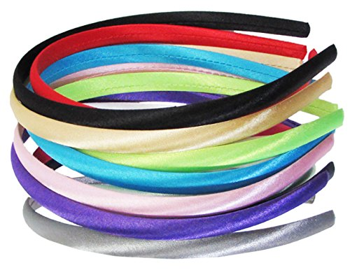 HipGirl Headbands for Girls, Headbands for Women Satin Fabric DIY Craft Hairband Baby Teen Kid Toddler. Assortment Fashion Accessories for Girls (12pc Assorted Bright Color, 3/8