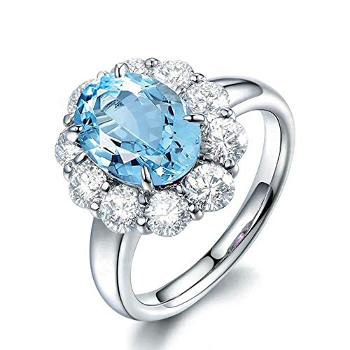 Adisaer-Women's Cubic Zirconia Wedding Ring 925 Sterling Silver Plated WH 8X10Mm Flower Blue Topaz Ring Size - Topaz White 4 Gold 14k Ct Blue Ring