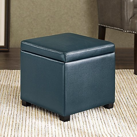 Regency Heights Maddox Small Cube Storage Ottoman in Peacock
