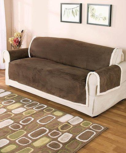 GPD Reversible Microsuede/Sherpa Furniture Protector, Sofa size, Chocolate