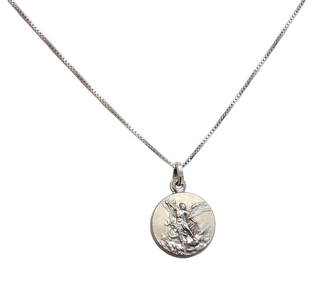 Medalla de San Miguel Arcángel En Plata Maciza 925 con Cadena de plata Igj Mr62