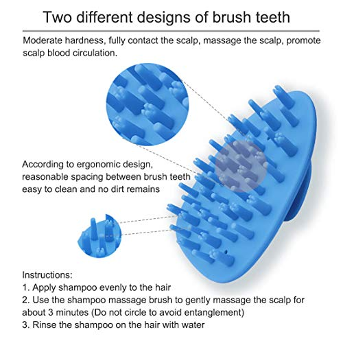 Shampoo Brush,Silicone Hair Scalp Massager Brush with Easy Handle for Women, Men, Kids, Pets (Blue)