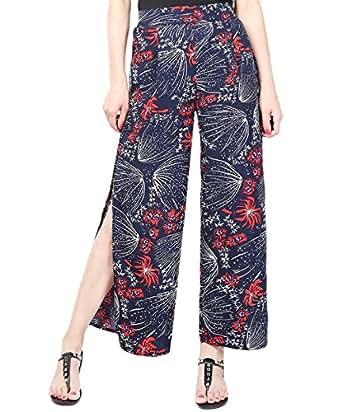 YiyiLai Women Split High Waist Flowy Beach Wide Leg Trousers Long Pants #A 2XL