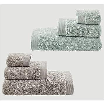 Serra Home Hotel y Spa algodón orgánico 6-bath Kit – Elena Gris/Verde