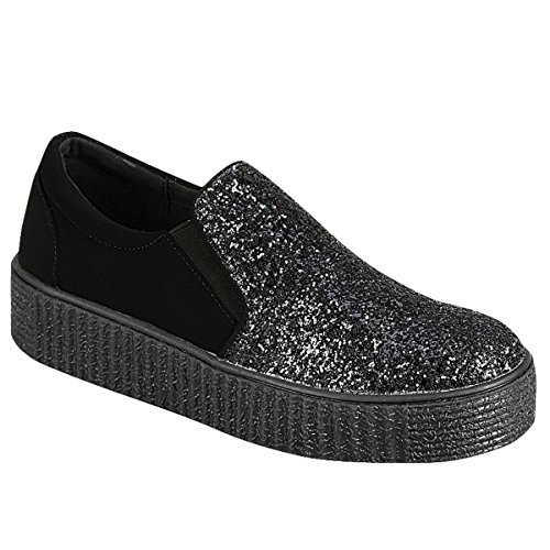 Best Inexpensive Metallic Black Casual Fashion Flat Sneaker Crepe Sole Creeper Laceless Squeaky Flashy Tenis Sketcher Prime Stocking Stuffer Gift Idea 2018 Shoe Women Teen Girl (Size 7.5, Black) (Childrens Shoes Sole Crepe)