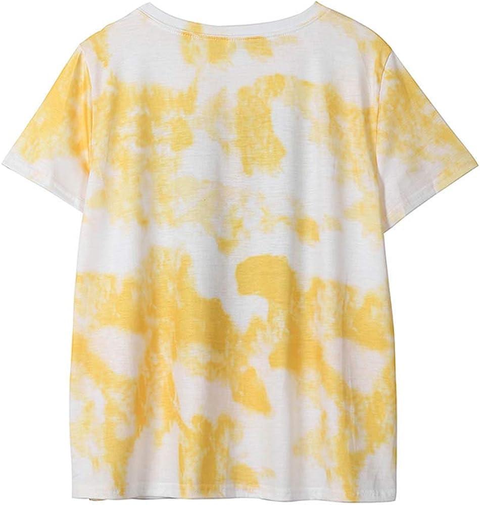 MISSWongg Elegante Camisetas para Mujer Poliéster Cuello Redondo Casual Camiseta Estampada Patrón de Sol Verano Tops Originales Estilo Simple Manga Corta Ligeros Transpirables Mujer Blusas y Camisas: Amazon.es: Ropa y accesorios