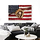 "Baseball Canvas Wall Art Vintage Baseball League Equipment USA Grunge Glove Bat Fielding Sports Theme Print Paintings for Home Wall Office Decor 28""x20"" Brown Red Blue"