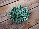 Star Shaped Ring Dish - Emerald Green Jewelry Holder, stamped with Boho floral pattern. Handmade trinket dish