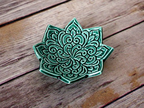 Star Shaped Ring Dish - Emerald Green Jewelry Holder, stamped with Boho floral pattern. Handmade trinket dish by Fettle & Fire