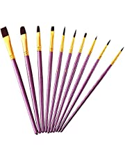 Paint Brushes Set, 10pcs Paintbrushes Flat/Shader Tip for Watercolor, Oil, Acrylic Painting and Craft, Nail, Face Paint (Purple Brush)
