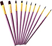 Conjunto de pincéis de pintura, 10 pincéis de ponta plana/sombreada para aquarela, óleo, pintura acrílica e ar