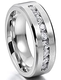 Silver Tone 8mm Stainless Steel Ring Band CZ Wedding Engagement Promise