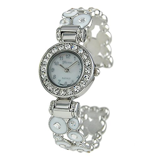 Rosemarie Collections Women's Stylish Mother of Pearl and Crystal Surround Bracelet Cuff Watch with Geometric Circles (White)