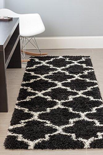 Super Area Rugs 2x8 Black & White Shag Rug For Open Spaces and Hallways Moroccan Geometric Quatrefoil Trellis Printed Stain-Resistant Carpet
