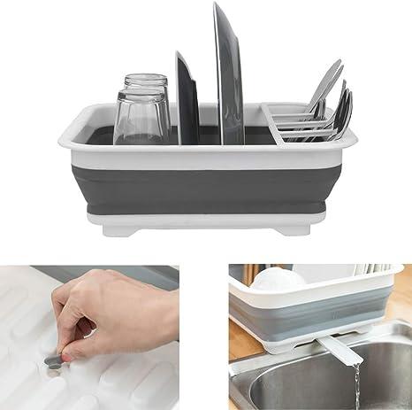 Estante de secado de platos plegable con escurridor de tubo a fregadero, fácil de limpiar, organizador de vajilla plegable, bandeja de almacenamiento, ...