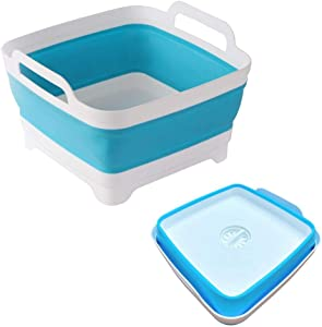 Collapsible Dish Tub with Drain Plug Carry Handles,Collapsible Dish Basin,Washing Dishes Vegetable Wash Collapsible Dish Rack Portable RV Sink,Foldable Dish Washing Tub for Camping,9L Capacity(Blue)