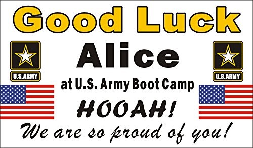 Alice Graphics 3ftX5ft Custom Personalized US Army Going Away Goodbye Farewell Deployment Party Banner Sign - Good Luck at US Army Boot Camp -