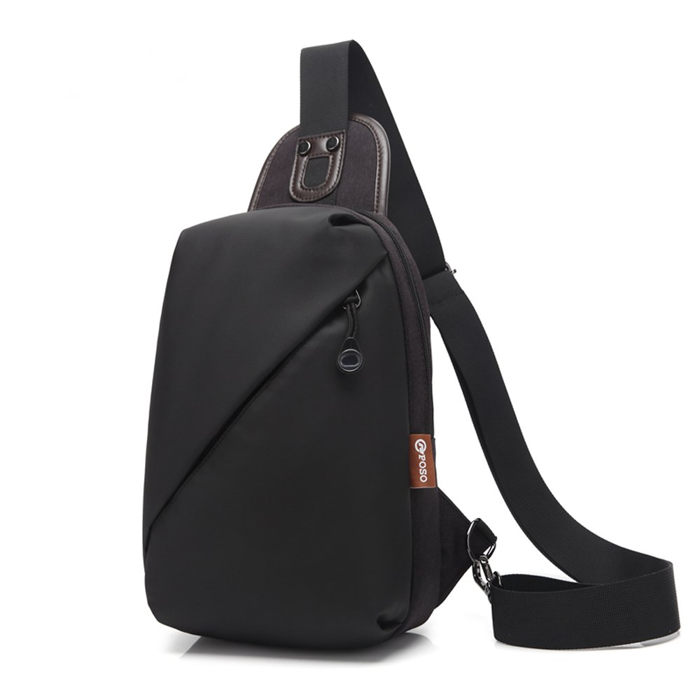 CoolBELL Srotek bolso pecho acruzdos de hombres mochila bolso de honda a gimnasio impermeable para viajes/senderismo/al aire libre/hombres/mujeres (Negro)