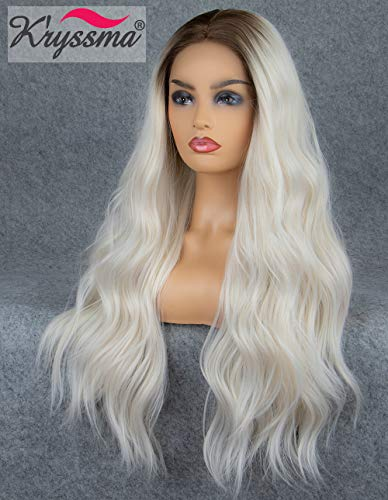 K'ryssma Ombre Lace Front Wig Platinum Blonde Dark Roots Long Natural Wavy Platinum Blonde Synthetic Wig Middle Parting Heat Resistant 22 inches ()