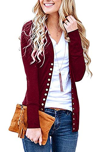 Women's S-3XL Solid Button Front Knitwears Long Sleeve Casual Cardigans Burgundy M