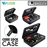 WoCase GoPro CODELOCK Case Carrying and Travel POV Case (with Safety Code Lock and Carabiner) for Gopro? HERO4 HERO3+, 3, 2, 1 Cameras (Black, Large L (8.7″ X6.8″ X2.8″))