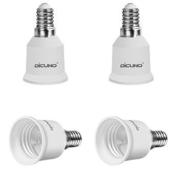DiCUNO 4-Pack E14 to E27 Socket Adapter Socket Convertidor Adaptador de base de lámpara