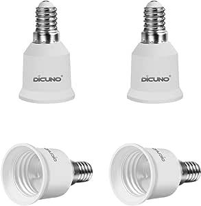 DiCUNO E14 to E27/E26 Adaptor, Converter Chandelier Socket to Medium Socket, LED Light Bulbs Converter, Max Wattage 200W, 165 Degree Heat Resistant (4-Pack)