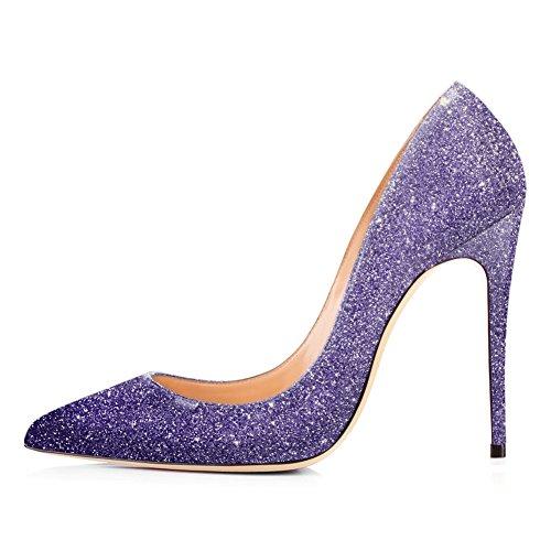 Onlymaker Damen Klassische Moderne mehrfabrige Absaetze Basische Pumpe Stiletto Purple Glitter