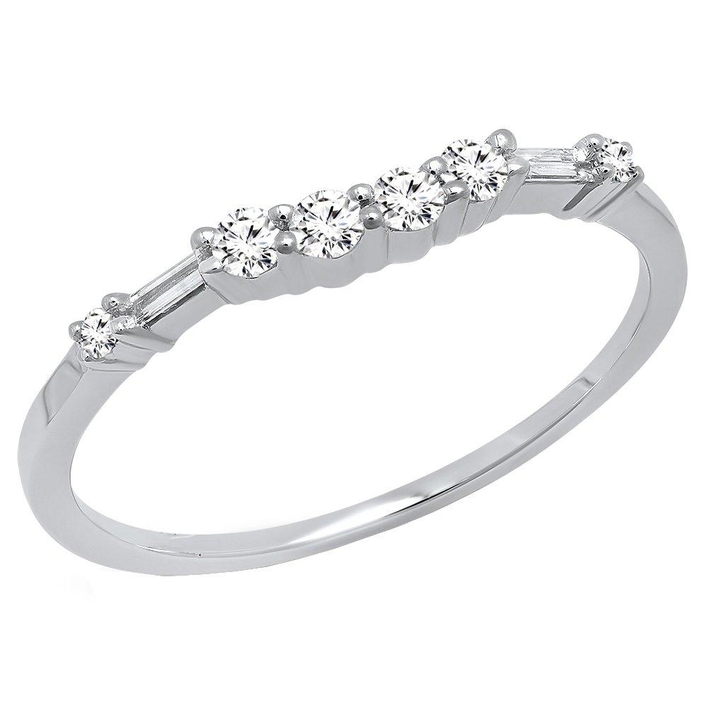 0.22 Carat (ctw) 14K White Gold Round & Baguette Cut Diamond Ladies Wedding Band 1/4 CT (Size 8.5)
