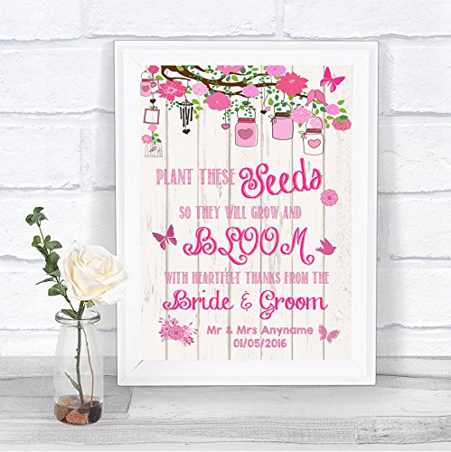 Personalized Heart Seed Cards (Pink Shabby Chic Rustic Wood Effect Pack Of Seeds Personalized Wedding Sign)