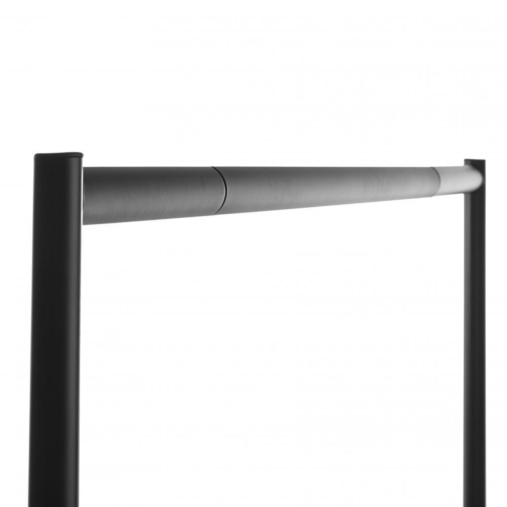 Gro/ßer Kleiderst/änder Garderobenst/änder Shopfitting Warehouse Stabiler Robuste 153cm lange Profi-Kleiderstange komplett aus Stahl in Schwarz