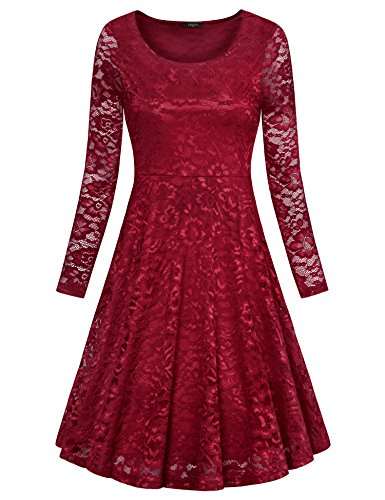 VALOLIA Hollow Lace Dress, Women's Solid Color Floral Lace Long Sleeve A-Line Flare Dress Wine Red X-Large
