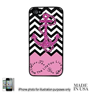 Anchor Live the Life You Love Infinity Quote (Not Actual Glitter) - Light Pink Black White Chevron with Anchor iPhone 4 4S Hard Case - BLACK by Unique Design Gifts