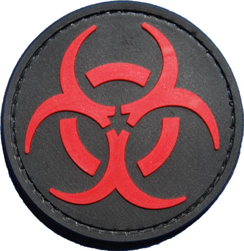 Red and Black Biohazard Morale Patch with velcro
