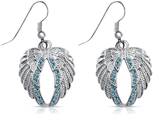 [Light Blue Crystal Silver Tone Angel Wings Dangle Earrings Bridal Prom Christmas Fashion Jewelry] (Tiffany Blue Costume Jewelry)