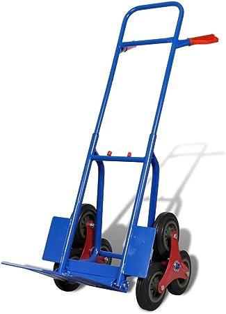Vislone Diable de Transport 6 Roues de Charge 200kg Bleu et Rouge